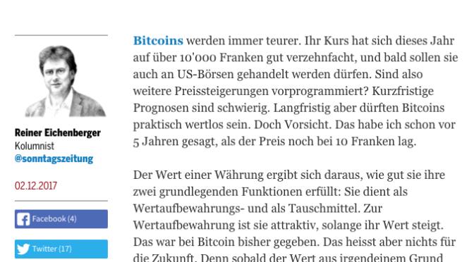 Aussagen eines Professors zu Bitcoin widerlegt