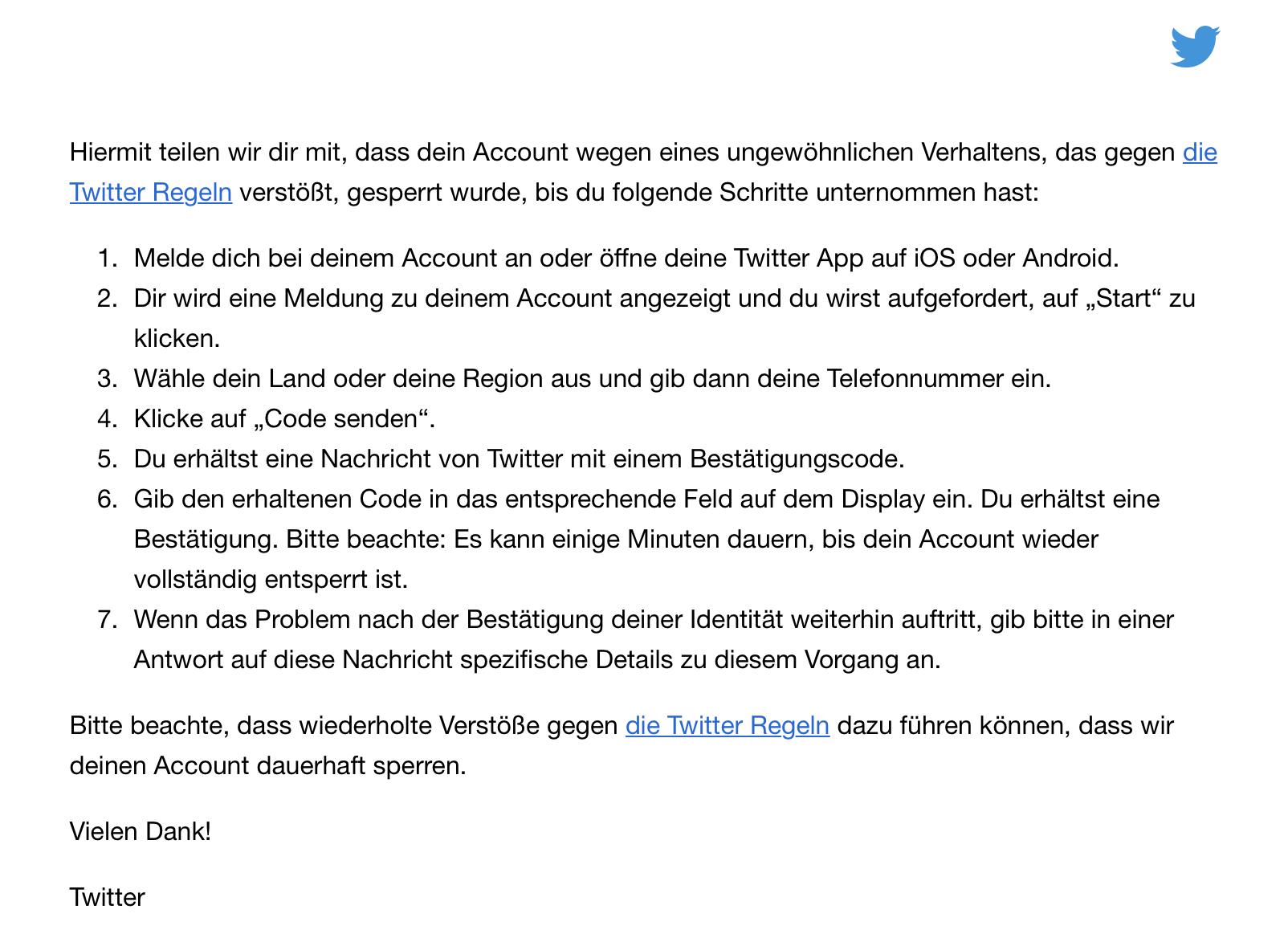 Twitter Support Nachricht